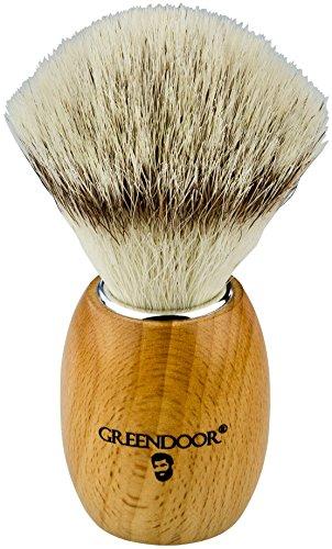 VEGANER Premium Rasierpinsel, einheimisches hartes Kirschholz + synthetischer Silvertip, sehr haltbar, macht wunderbaren Schaum, Handarbeit in deutscher Manufaktur, Männer Geburtstags-Geschenk