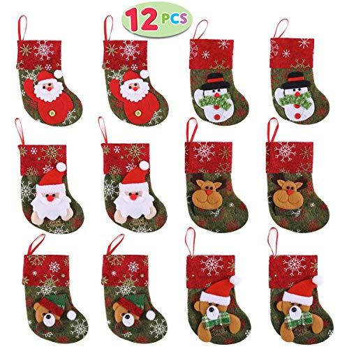 JOYIN 12 Stück Mini Weihnachtsstrumpf - 3D Nikolausstrumpf -Nikolausstiefel für Weihnachtsdekoration Geschenkbeutel Weihnachtsbaum