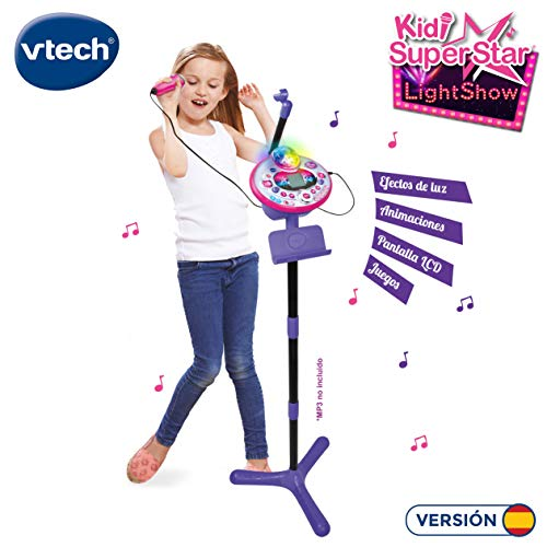VTech - Kidi SuperStar LightShow, Karaoke electrónico interactivo, conexión para MP3, efectos de luces, voces, grabadora, altavoz incorporado, juegos, sonidos de aplausos y ovaciones, Rosa (80-165822)