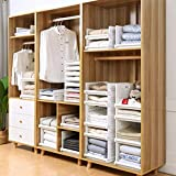 Homieco Stackable Closet Drawer Organizer Racks Wardrobe Clothes Storage Box Stacking Cube Basket Shelves Divider Board Snacks Containers, 2pcs/ L