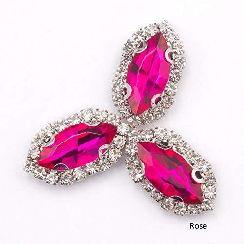 Kleurrijke kristallen parels om op steen te naaien met strass, ketting van steen, accessoires voor kleding, handtassen, roze, 7 x 15 mm, 12 stuks