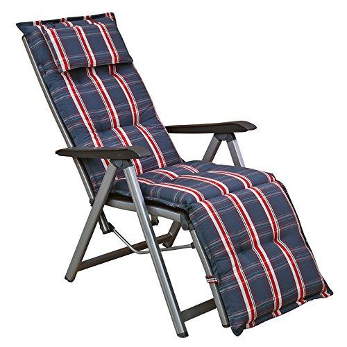 Auflagen mit Kopfpolster für Relaxliegen Liegestühle 173 cm lang 8 cm dick Dessin Miami 10525-700 in grau (ohne Sessel) (1)