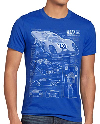 style3 917K Blaupause Herren T-Shirt Le Mans, Größe:XL, Farbe:Blau