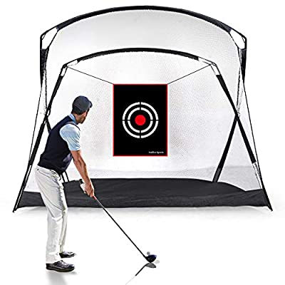 GALILEO Golf Hitting Net 9.3'(L) x5.3'(W) x6.5'(H) Driving Range Golf Practice Nets for Backyard Indoor Use with Target Carry Bag