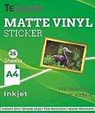 TeQuiero Inkjet Matte Vinyl Sticker Sheet Paper A4 Size Self Adhesive Photo Paper (Inkjet) - 25 Sheets