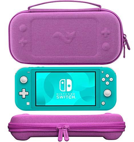 ButterFox - Funda de transporte compacta para Nintendo Switch Lite con 19 juegos y 2 tarjeteros micro SD, color morado