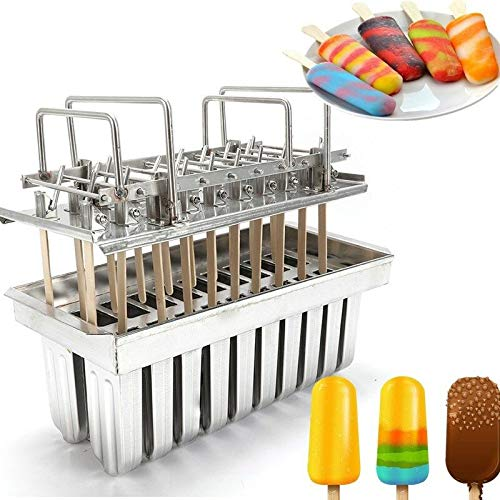 20 Cell Frozen Ice Cream Mold Popsicle Maker Ice Lolly Pop Mould Stainless Steel Popsicle Holder Maker+Stick Kit Fast Freeze USA STOCK