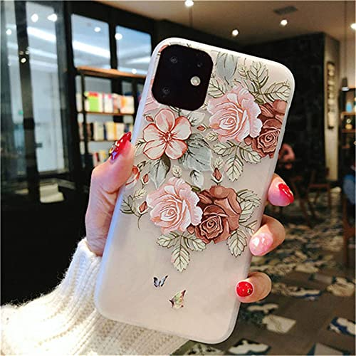 iPhone 11 Pro Max X XR XS 6 6s 7 8 Plus mate tricky 3D arte rosa pintura alivio suave TPU contraportada