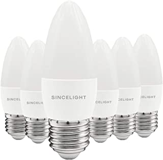 E27 LED Candle Light Bulb, B35 Shape with Milky Diffuser, 5 Watt, Cold White 6500K & RA≈92 High Color Rending, 500 Lumens≈...