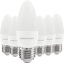E27 LED Candle Light Bulb, B35 Shape with Milky Diffuser, 5 Watt, Warm White 2700K & RA≈92 High Color Rending, 450 Lumens≈...