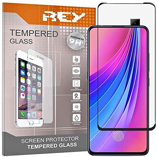 REY Pack 2X Panzerglas Schutzfolie für VIVO V15, Schwarz, Bildschirmschutzfolie 9H+, Polycarbonat, Festigkeit, Anti-Kratzen, Anti-Öl, Anti-Bläschen, 3D / 4D / 5D