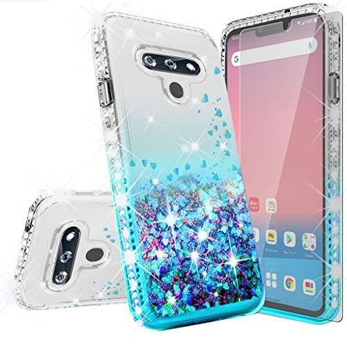 GW USA Schutzhülle für LG Harmony 4, K41, LG Premier Pro Plus L455DL, LG K400QM/K400VPP/K400, mit Bildschirmschutzfolie aus gehärtetem Glas, flüssiger Glitzer, stoßfest, transparent / blaugrün