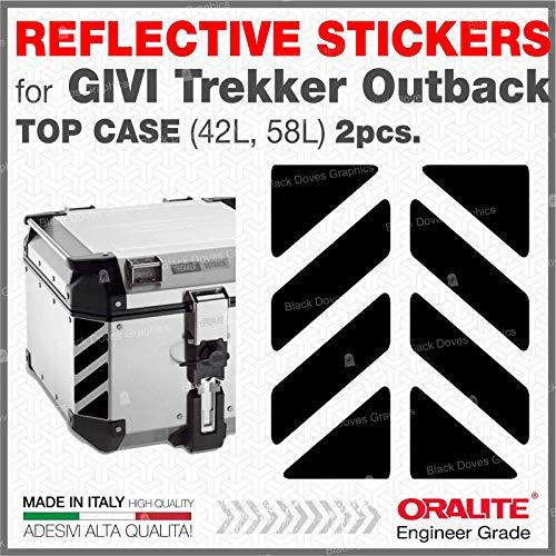 2pcs RIFRANGENTI ADESIVI сompatible con GIVI Baúl Trekker Outback Monokey 37 42 48 L, Aluminio Top Case (Black 071)