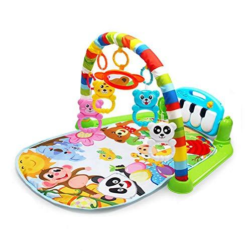 Hengqiyuan Manta de Arrastre para recién Nacidos, Alfombra de Juegos para bebés con luz y música, colchoneta para niños con Arco de Juego y Teclado de Piano, piando y Jugar Piano, Colgante extraíble