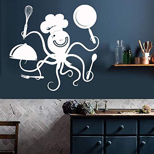 Wandaufkleber Wandtattoo Küchendekor Lustiger Octopus Chef Mit Töpfen Und Pfannen Restaurant Cafe Dekor Vinyl Wandaufkleber Kreatives Wandbild 30X31Cm