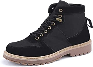 Sunny&Baby Men's Fashion Martin Boots Casual Personality Stitching Comfortable Round Toe High Top Boot Durable (Color : Black, Size : 7.5 UK)