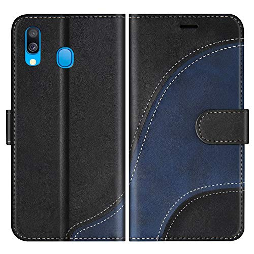 BoxTii Hülle für Galaxy A40, Leder Handyhülle für Samsung Galaxy A40, Ledertasche Klapphülle Schutzhülle mit Kartenfächer & Magnetverschluss, Schwarz