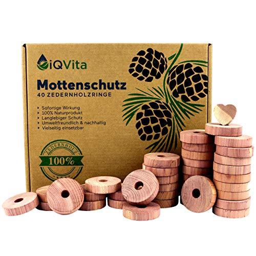 Protection naturelle contre les mites en bois de cèdre – 40 anneaux anti-mites – Produit 100% naturel – Excellente dissuasion des mites pour penderies – BIO – Piège à mites – Sans produits chimiques
