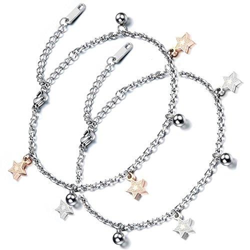 Aroncent 2PCS Damen Gliederarmband Fußkette, Pentagramm Stern Glöckchen Armreif Fußkettchen, Edelstahl, Silber Rosegold
