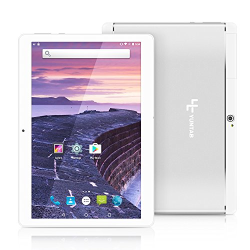 Tablet 10.1 Pollici,YUNTAB K17 Android 3G Wifi PC,Quad-core,Dual Sim Carta,16 GB ROM,RAM 1 GB,IPS HD Display,Dual Camera/Bluetooth/GPS/OTG (Argento)