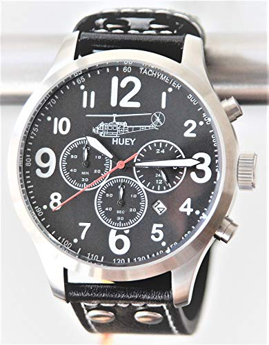 IMC Fliegeruhr Huey Männer Herren Chronograph Armbanduhr Uhr Lederarmband Gehäuse aus Edelstahl