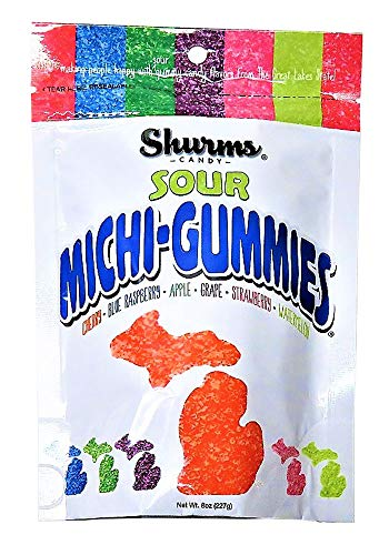 Sour Michi-Gummies Shurms Michigan Shaped Fruit Flavored Gummy Candy - 8 oz Bag