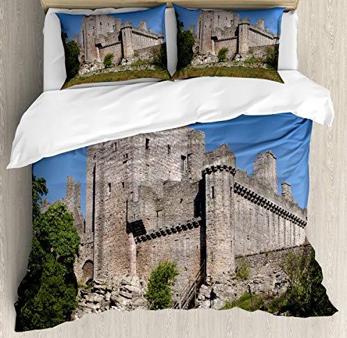ABAKUHAUS Schotland Dekbedovertrekset, Craigmillar Castle, Decoratieve 3-delige Bedset met 2 Sierslopen, 200 cm x 200 cm, Veelkleurig
