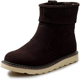ZHANGLEI Ankle Boots for Men Snow Boot Suede Upper Pull on Round Toe Vegan Lightweight Anti-Slip Warm Plush Inside Flat Casual (Color : Darkbrown, Size : 6.5 UK)