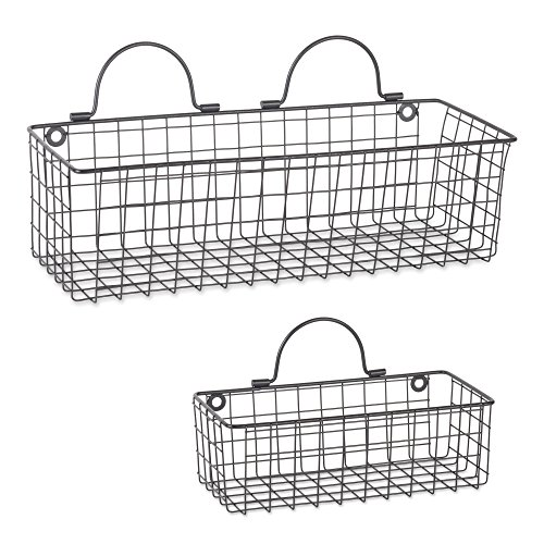 DII Assorted Rustic Farmhouse Vintage Wire Wall Basket Set of 2 Set 2 Black