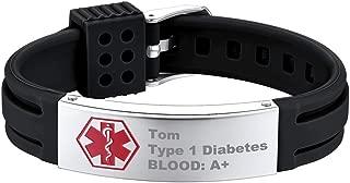 Supcare Medical Alert ID Bangle Bracelet Stainless Steel, Adjustable Medical Emergency Identification Silicone Band Bracelet Jewelry, Allergy Medical Bracelet for Women/Men/Children/Boys