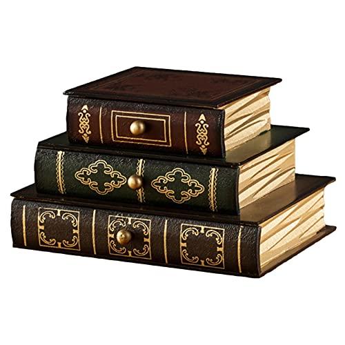 Retro Maquillaje Joyería Bandeja Organizadora, Forma De Libro Caja De Joyas Madera Con 3 Cajones Recuerdo De Escritorio Decoración De Muebles Dormitorio,B