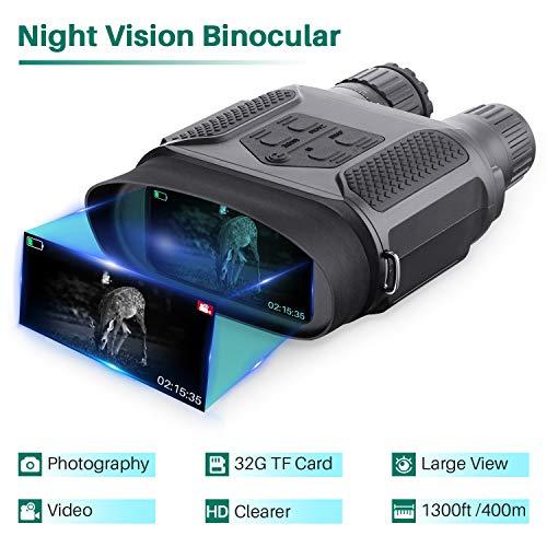 Jumelle Vision Nocturne pour Adultes, avec carte TF 32GB, zoom numérique infrarouge HD 7x, portée...