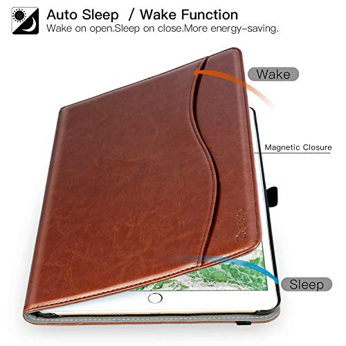 New IPad 9.7 Inch 2017 Case, Ztotop Premium Leather Business Slim Folding Stand Folio Cover for New Apple Tablet with Auto Wake / Sleep and Document Card Slots, Multiple Viewing Angles,Brown