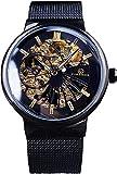 QHG Reloj de Pulsera mecánica Ultra Delgada de la Malla Negra de la Moda Unisex.