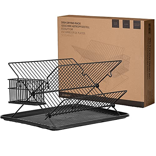 JOHSEATY Égouttoir à vaisselle pliable, métal noir (36,5 x 30,5 x 22 cm) avec porte-couverts et égouttoir amovible en plastique. Grille égouttoir à vaisselle pliable sur l'évier