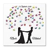 Madyes Leinwand Hochzeit Fingerabdruck Gästebuch personalisiert Brautpaar Feuerwerk als Geschenk