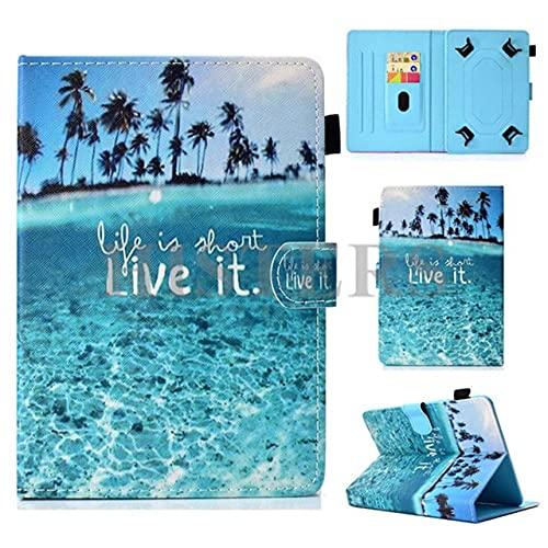 Funda universal para tablet de 10 pulgadas, con soporte universal para Tab de 10', diseño de Live IT, color azul paisaje, playa, isla, mar, palmera