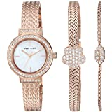 Anne Klein Women's Swarovski Crystal Accented Rose Gold-Tone Mesh Watch and Bracelet Set
