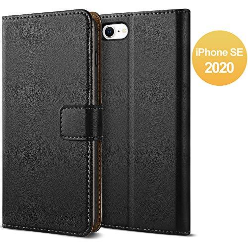 HOOMIL Handyhülle für iPhone SE 2020 Hülle, [Kabelloses Laden] Premium Leder Flip Case Cover Schutzhülle für Apple iPhone SE 2020 Tasche, Schwarz