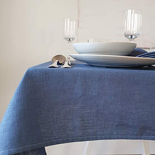 Hochwertige Tischdecke, Leinentischdecke, Tischtuch aus 100% Leinen   Dicke Qualität   Mit Liebe in Deutschland genäht   Viele Größen & Farben   edel & pflegeleicht   135x135 cm (LxB)   Uni Blau