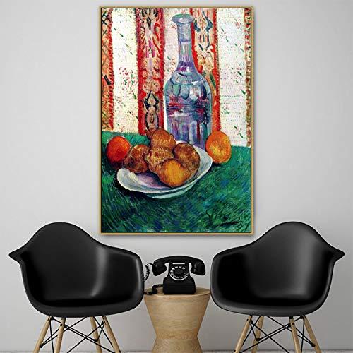 SIRIUSART Antiguo y Famoso Artista Maestro bodegón con Botella y Limones Lienzo Pintura póster impresión para decoración de habitación Arte de Pared (56x84cm) 22'X33 sin Marco
