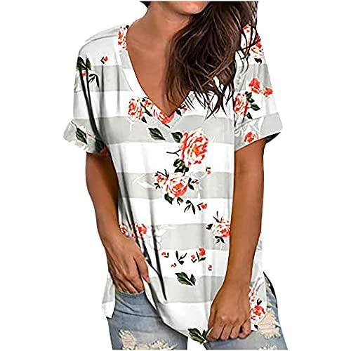 FASBB Verano de las mujeres con cuello en V manga corta oversize camiseta Blusas sueltas base camisa túnicas Tops