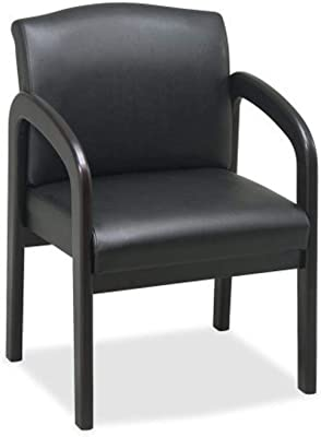 Lorell Guest Chair, 23 by 25-1/2 by 33-1/2-Inch, Black/Espresso Frame