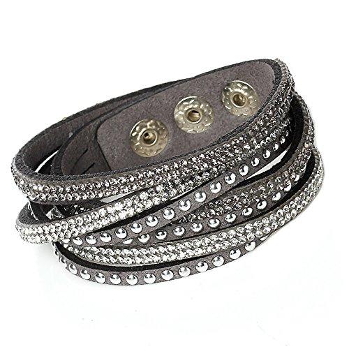 Unique Gems Damen Strass Armand Wickelarmband Kristalle grau weiß edles Alcantara Nieten mit Druckknöpfen zum verstellen