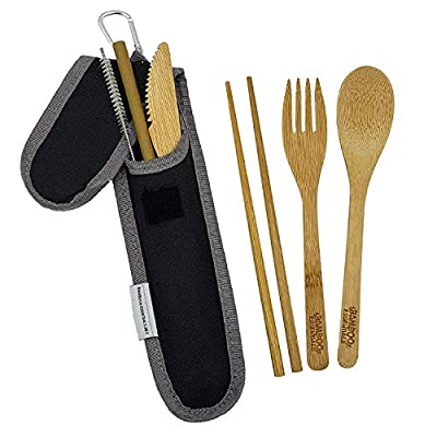 Bamboo Travel Utensil Set | Bamboo Fork, Knife, Spoon, Chopsticks, Straw, Straw-cleaning brush, Travel Pouch and Carabiner | Excellent For Everyday Use! ((1Set) Midnight Black)