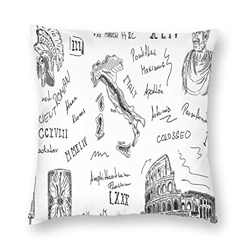 Decorative Cushion Covers with Ancient Roman Period Icons Caesar Colosseum Gladiator and Map Sketch Art,for Sofa Office Decor Cotton and Linen Cushion Covers 26*26Inch