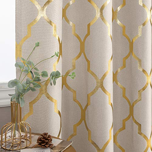 jinchan Moroccan Tile Print Linen Textured Panels for Bedroom Grommet Top Flax Linen Look Curtain Textured Window Treatment Set for Living Room 72 inch Gold on Flax