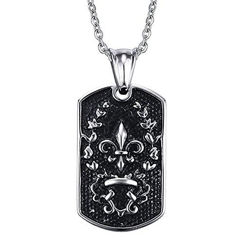 BOBIJOO Jewelry - Hanger Plaat Patriot Militaire Fleur-de-Lis Roestvrij Staal + Ketting 50 cm