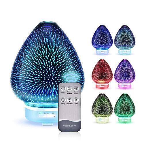 XFSE Hogar 120 Ml Gran Capacidad Tanque De Agua Vidrio 3D Melocotón Siete Luces LED De Color Carecen De Agua Apagado Automático Silenciador De Diseño Silencioso