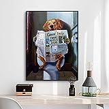 ganlanshu Arte de Pared Divertido Animal Print Perro Leyendo Imagen de periódico para Sala de Estar decoración del hogar,Pintura sin Marco,50X67cm